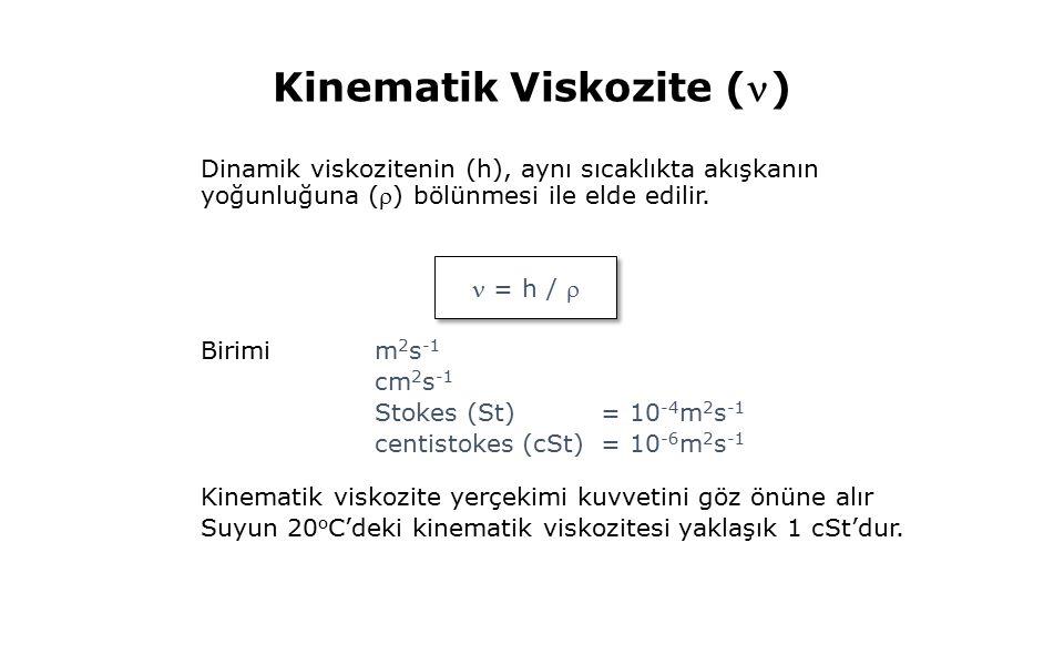 Kinematik Viskozite () Dinamik viskozitenin (h), aynı sıcaklıkta akışkanın yoğunluğuna () bölünmesi ile elde edilir.