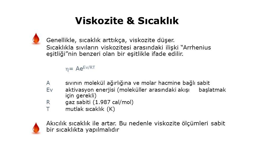 Viskozite & Sıcaklık Genellikle, sıcaklık arttıkça, viskozite düşer.