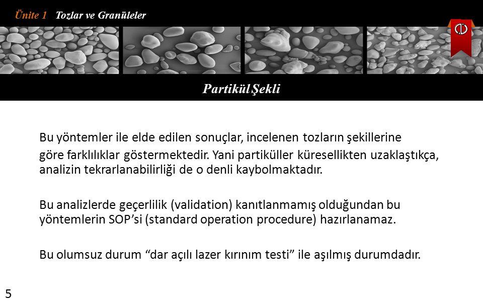 Ünite 1 Tozlar ve Granüleler Partikül Şekli 5 Bu yöntemler ile elde edilen sonuçlar, incelenen tozların şekillerine göre farklılıklar göstermektedir.