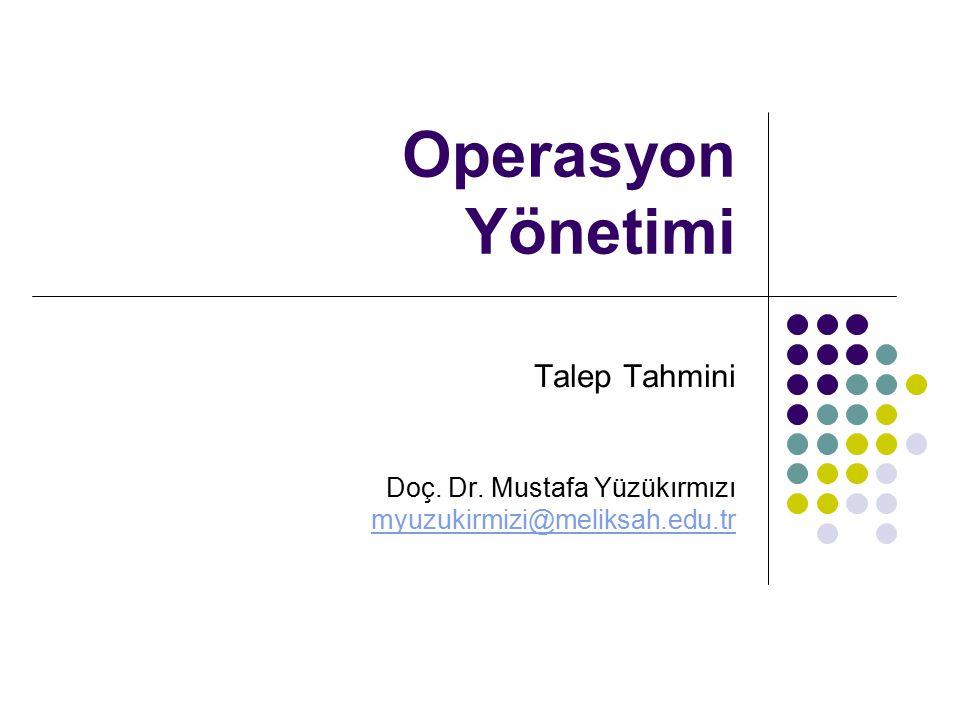 Operasyon Yönetimi Talep Tahmini Doç. Dr. Mustafa Yüzükırmızı myuzukirmizi@meliksah.edu.tr