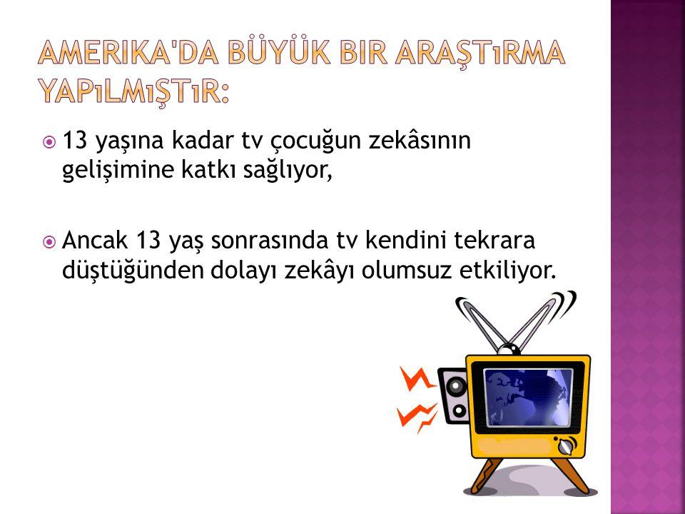  13 yaşına kadar tv çocuğun zekâsının gelişimine katkı sağlıyor,  Ancak 13 yaş sonrasında tv kendini tekrara düştüğünden dolayı zekâyı olumsuz etkil