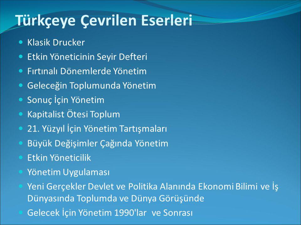 Türkçeye Çevrilen Eserleri Klasik Drucker Etkin Yöneticinin Seyir Defteri Fırtınalı Dönemlerde Yönetim Geleceğin Toplumunda Yönetim Sonuç İçin Yönetim