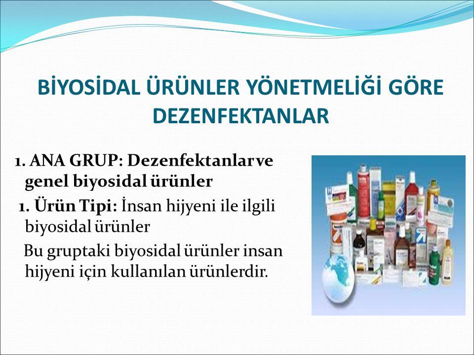 BİYOSİDAL ÜRÜNLER YÖNETMELİĞİ GÖRE DEZENFEKTANLAR 1.