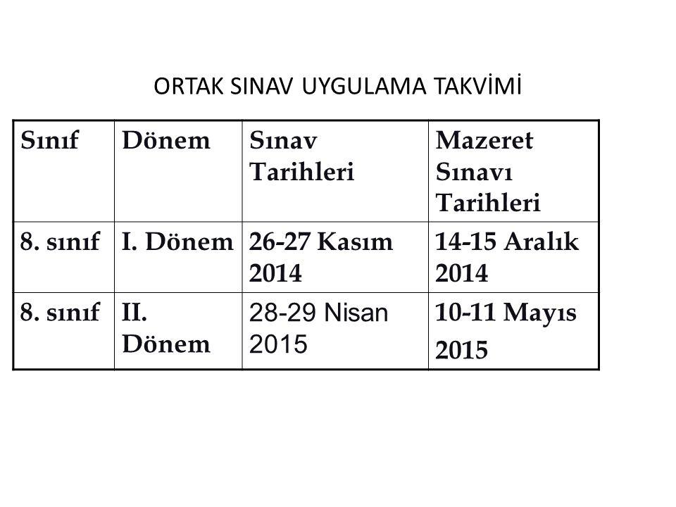 ORTAK SINAV UYGULAMA TAKVİMİ SınıfDönemSınav Tarihleri Mazeret Sınavı Tarihleri 8. sınıfI. Dönem26-27 Kasım 2014 14-15 Aralık 2014 8. sınıfII. Dönem 2