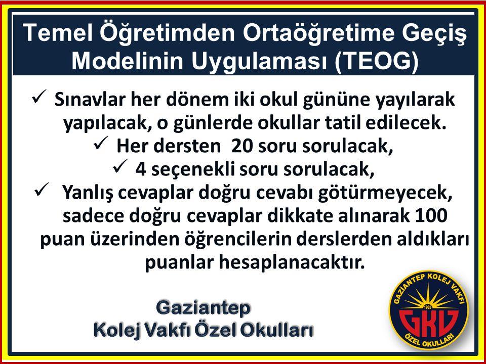 Bu puanlar Türkçe, Matematik, Fen ve Teknoloji ile Yabancı Dil için 2.