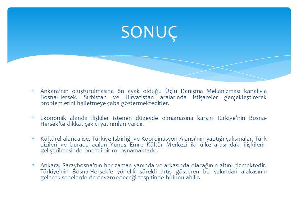  Ankara'nın oluşturulmasına ön ayak olduğu Üçlü Danışma Mekanizması kanalıyla Bosna-Hersek, Sırbistan ve Hırvatistan aralarında istişareler gerçekleştirerek problemlerini halletmeye çaba göstermektedirler.