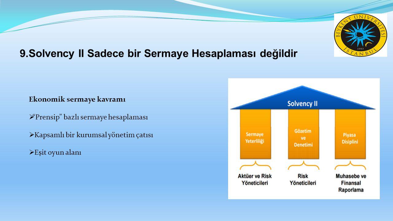 """9.Solvency II Sadece bir Sermaye Hesaplaması değildir Ekonomik sermaye kavramı  """"Prensip"""" bazlı sermaye hesaplaması  Kapsamlı bir kurumsal yönetim ç"""