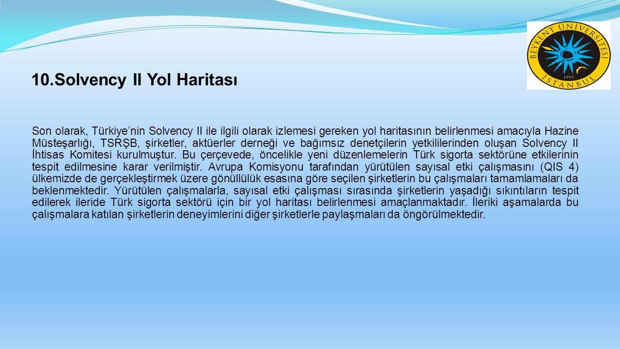 10.Solvency II Yol Haritası Son olarak, Türkiye'nin Solvency II ile ilgili olarak izlemesi gereken yol haritasının belirlenmesi amacıyla Hazine Müsteşarlığı, TSRŞB, şirketler, aktüerler derneği ve bağımsız denetçilerin yetkililerinden oluşan Solvency II İhtisas Komitesi kurulmuştur.