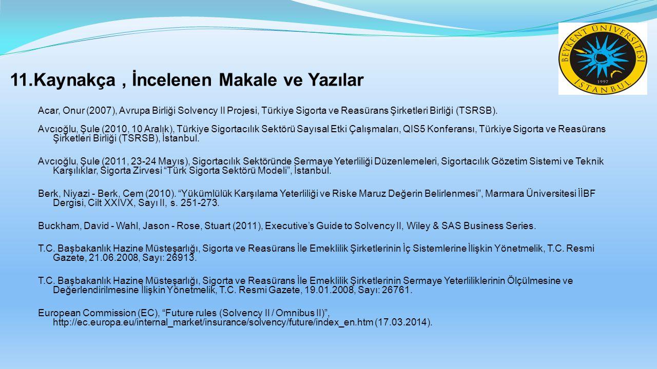 11.Kaynakça, İncelenen Makale ve Yazılar Acar, Onur (2007), Avrupa Birliği Solvency II Projesi, Türkiye Sigorta ve Reasürans Şirketleri Birliği (TSRSB
