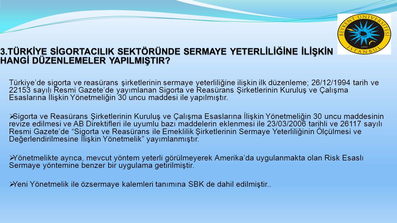 Türkiye'de sigorta ve reasürans şirketlerinin sermaye yeterliliğine ilişkin ilk düzenleme; 26/12/1994 tarih ve 22153 sayılı Resmi Gazete'de yayımlanan Sigorta ve Reasürans Şirketlerinin Kuruluş ve Çalışma Esaslarına İlişkin Yönetmeliğin 30 uncu maddesi ile yapılmıştır.