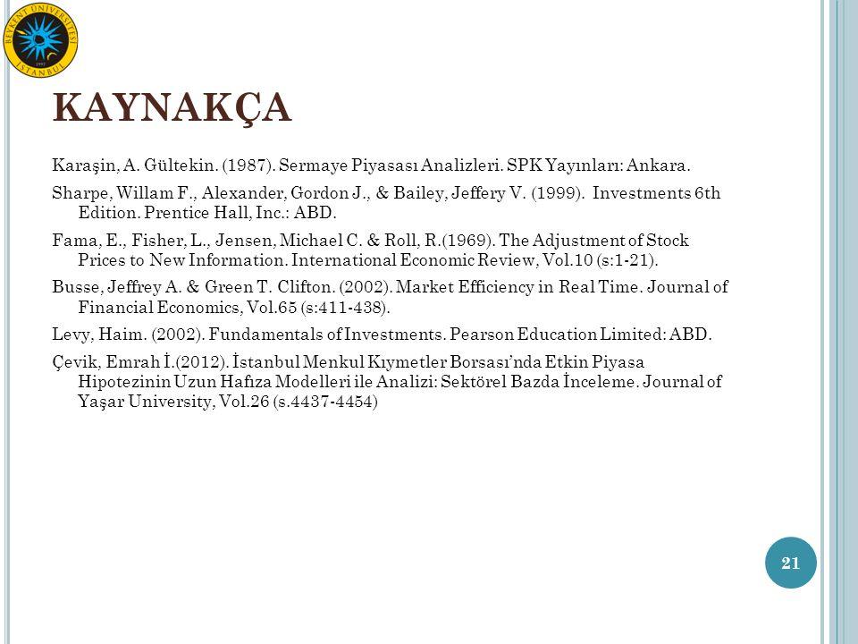 KAYNAKÇA Karaşin, A. Gültekin. (1987). Sermaye Piyasası Analizleri. SPK Yayınları: Ankara. Sharpe, Willam F., Alexander, Gordon J., & Bailey, Jeffery