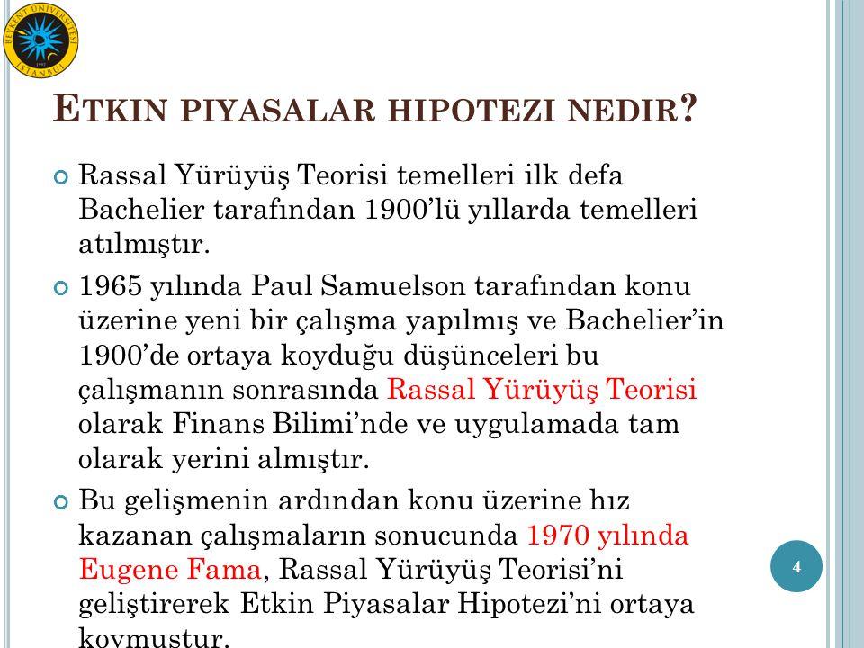 E TKIN PIYASALAR HIPOTEZI NEDIR ? Rassal Yürüyüş Teorisi temelleri ilk defa Bachelier tarafından 1900'lü yıllarda temelleri atılmıştır. 1965 yılında P