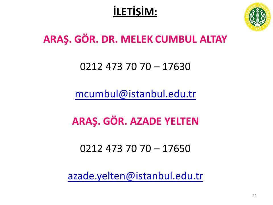 21 İLETİŞİM: ARAŞ. GÖR. DR. MELEK CUMBUL ALTAY 0212 473 70 70 – 17630 mcumbul@istanbul.edu.tr ARAŞ. GÖR. AZADE YELTEN 0212 473 70 70 – 17650 azade.yel