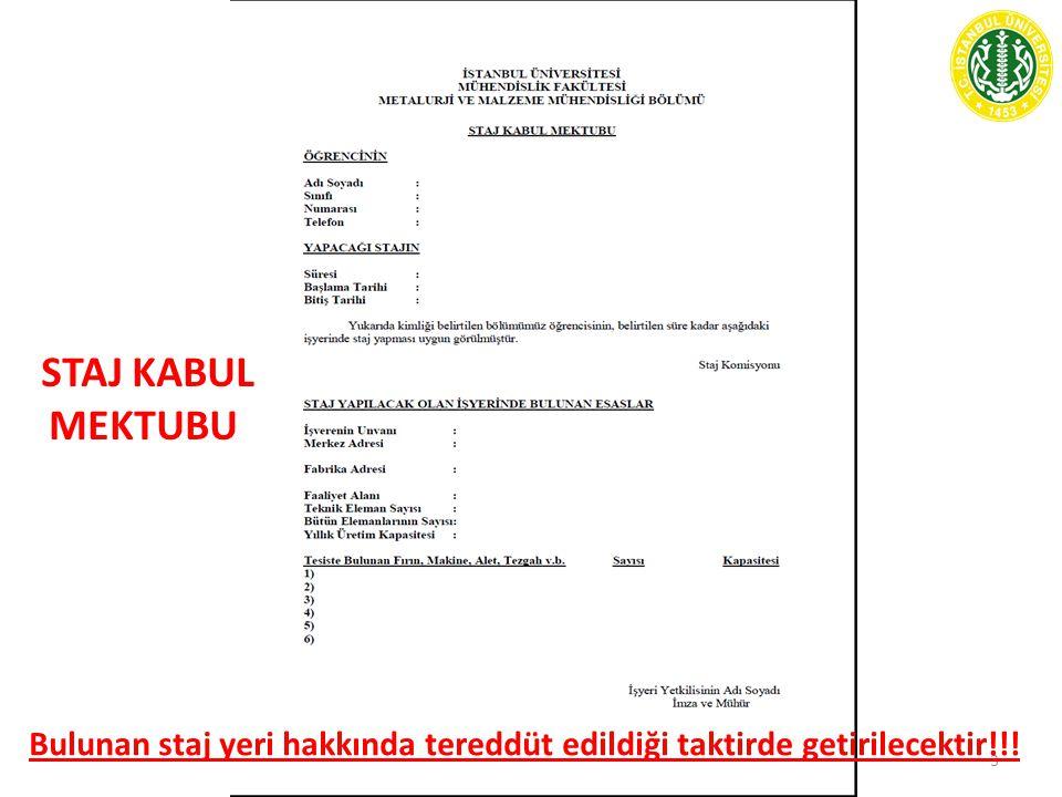 STAJ KABUL MEKTUBU 3 Bulunan staj yeri hakkında tereddüt edildiği taktirde getirilecektir!!!