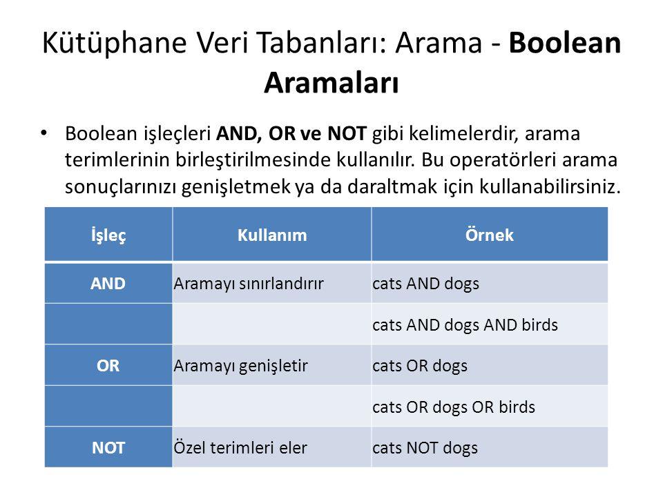 Kütüphane Veri Tabanları: Arama - Boolean Aramaları Boolean işleçleri AND, OR ve NOT gibi kelimelerdir, arama terimlerinin birleştirilmesinde kullanıl
