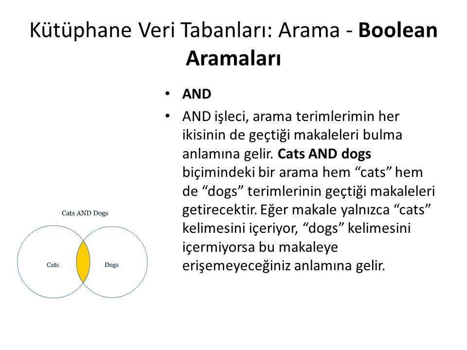 Kütüphane Veri Tabanları: Arama - Boolean Aramaları AND AND işleci, arama terimlerimin her ikisinin de geçtiği makaleleri bulma anlamına gelir. Cats A