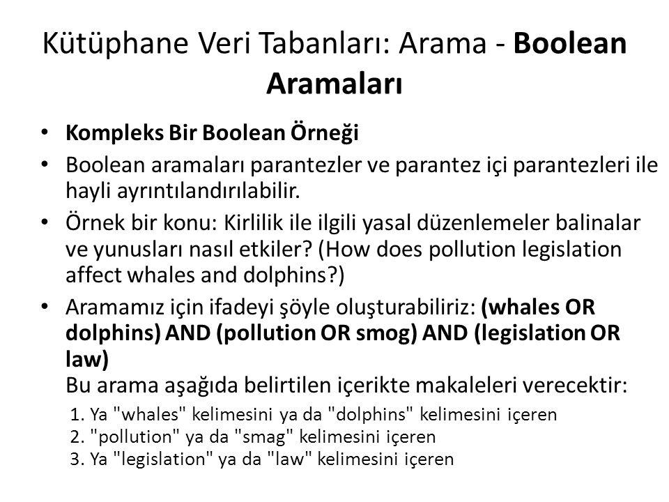 Kompleks Bir Boolean Örneği Boolean aramaları parantezler ve parantez içi parantezleri ile hayli ayrıntılandırılabilir. Örnek bir konu: Kirlilik ile i