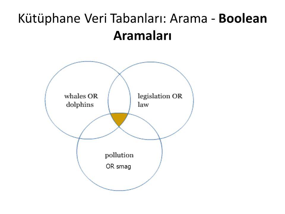 Kütüphane Veri Tabanları: Arama - Boolean Aramaları OR smag