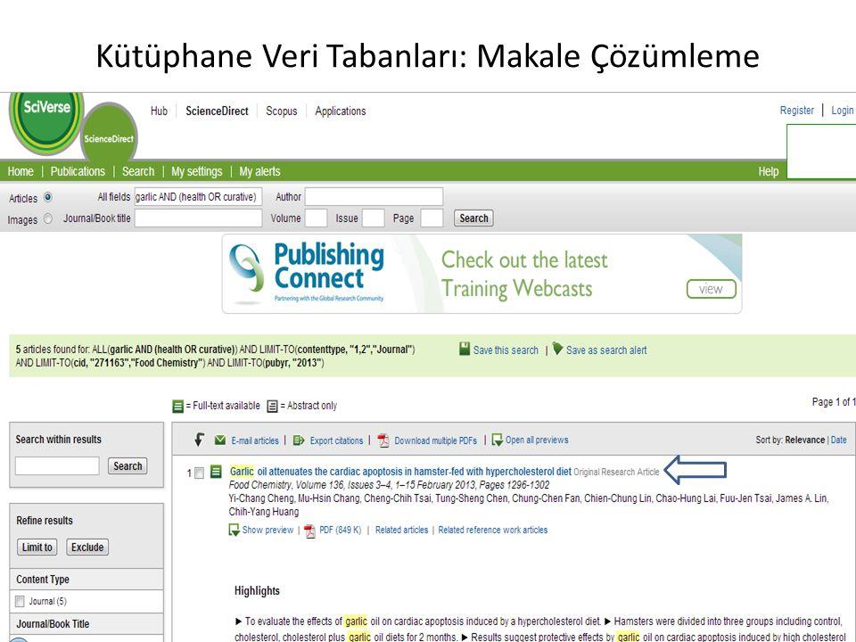 Kütüphane Veri Tabanları: Makale Çözümleme