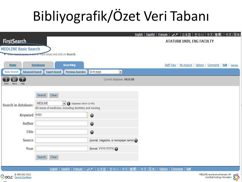 Bibliyografik/Özet Veri Tabanı