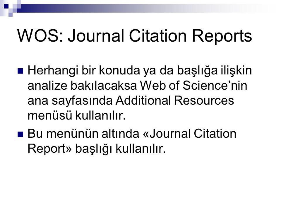 WOS: Journal Citation Reports Herhangi bir konuda ya da başlığa ilişkin analize bakılacaksa Web of Science'nin ana sayfasında Additional Resources men
