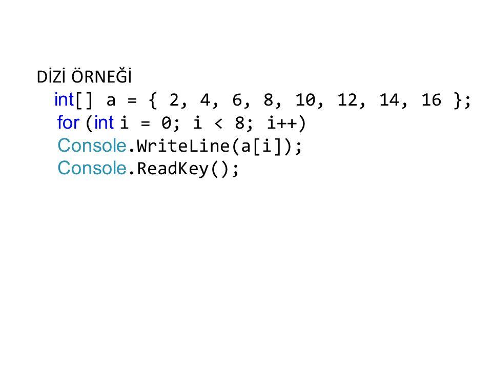 DİZİ ÖRNEĞİ int [] a = { 2, 4, 6, 8, 10, 12, 14, 16 }; for ( int i = 0; i < 8; i++) Console.WriteLine(a[i]); Console.ReadKey();