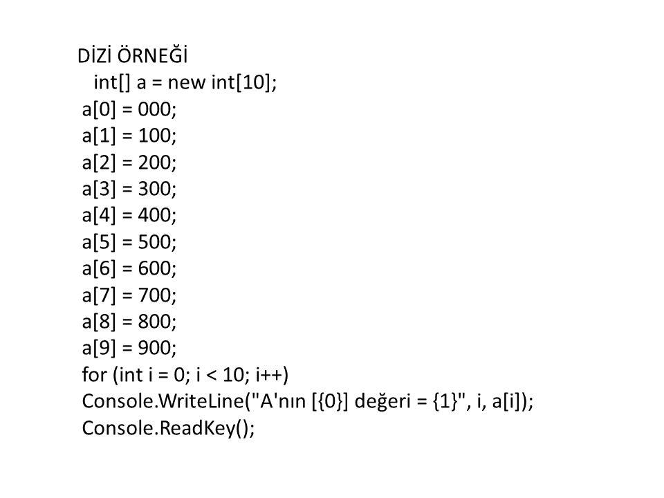 DİZİ ÖRNEĞİ int[] a = new int[10]; a[0] = 000; a[1] = 100; a[2] = 200; a[3] = 300; a[4] = 400; a[5] = 500; a[6] = 600; a[7] = 700; a[8] = 800; a[9] = 900; for (int i = 0; i < 10; i++) Console.WriteLine( A nın [{0}] değeri = {1} , i, a[i]); Console.ReadKey();