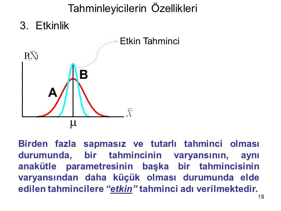 19 Tahminleyicilerin Özellikleri 3.Etkinlik A B Birden fazla sapmasız ve tutarlı tahminci olması durumunda, bir tahmincinin varyansının, aynı anakütle