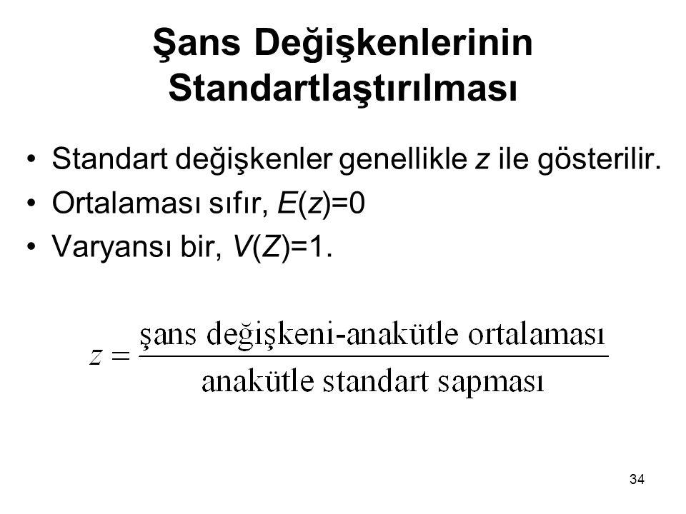 Şans Değişkenlerinin Standartlaştırılması Standart değişkenler genellikle z ile gösterilir. Ortalaması sıfır, E(z)=0 Varyansı bir, V(Z)=1. 34