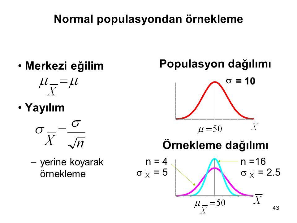 43 Normal populasyondan örnekleme Merkezi eğilim Yayılım –yerine koyarak örnekleme Populasyon dağılımı Örnekleme dağılımı n =16   X = 2.5 n = 4  