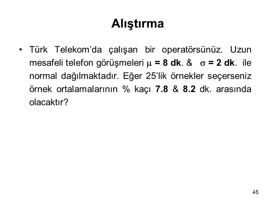 45 Alıştırma Türk Telekom'da çalışan bir operatörsünüz. Uzun mesafeli telefon görüşmeleri  = 8 dk. &  = 2 dk. ile normal dağılmaktadır. Eğer 25'lik