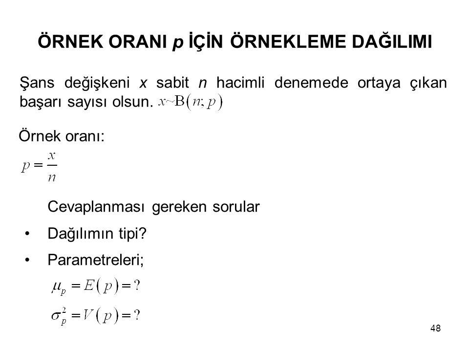 48 ÖRNEK ORANI p İÇİN ÖRNEKLEME DAĞILIMI Örnek oranı: Cevaplanması gereken sorular Dağılımın tipi? Parametreleri; Şans değişkeni x sabit n hacimli den