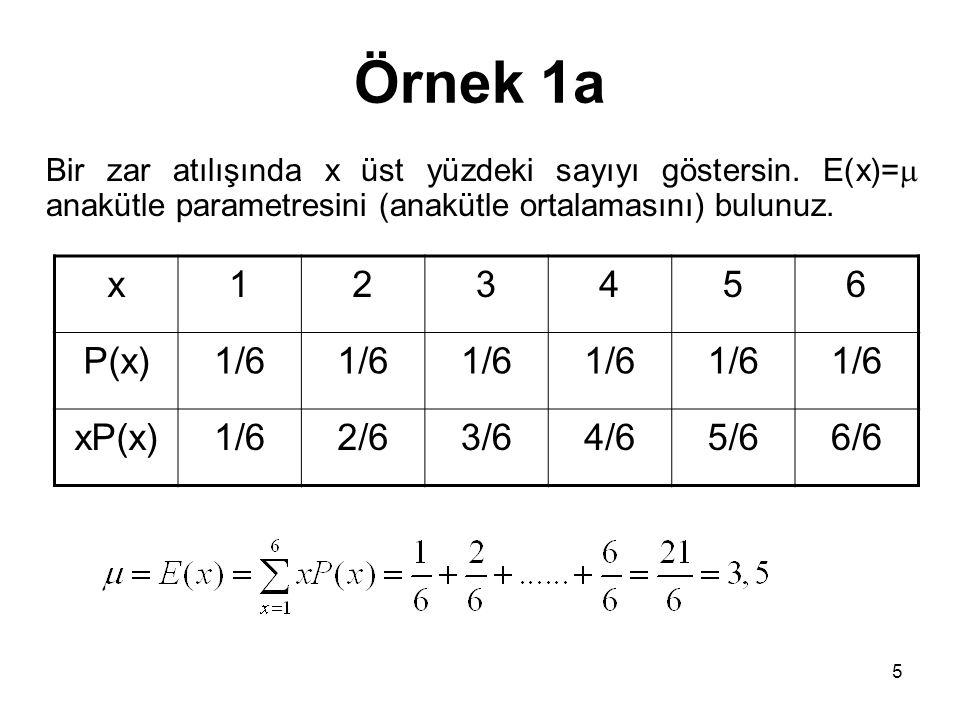 Örnek 1a Bir zar atılışında x üst yüzdeki sayıyı göstersin. E(x)=  anakütle parametresini (anakütle ortalamasını) bulunuz. x123456 P(x)1/6 xP(x)1/62/