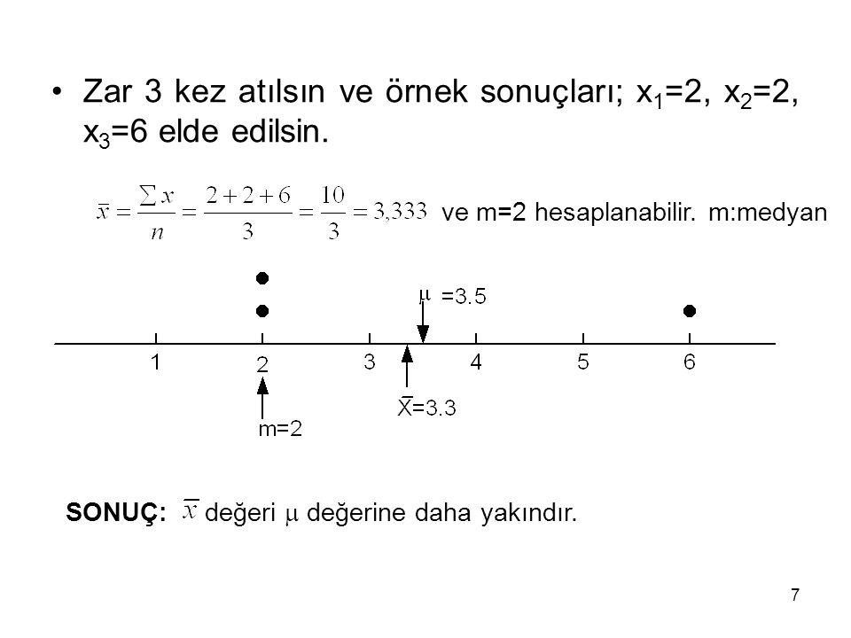 Örnek 3 28 Aritmetik ortalamanın varyansı 01234568912 P( ) 1/273/27 1/273/276/273/27 1/27 01491625366481144 P( ) 03/2712/279/2748/27150/27108/27192/27243/27144/27 = 8,66