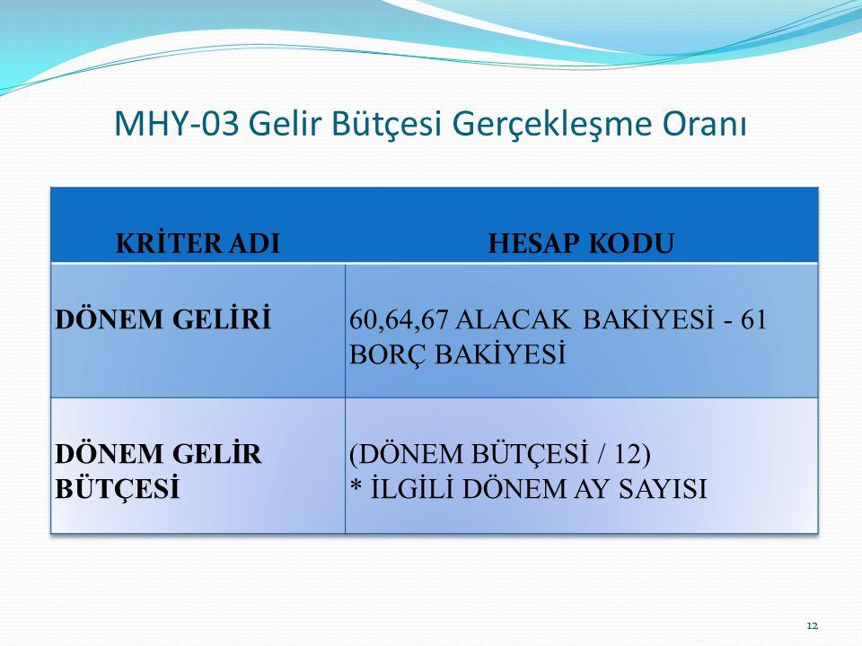 MHY-03 Gelir Bütçesi Gerçekleşme Oranı 12