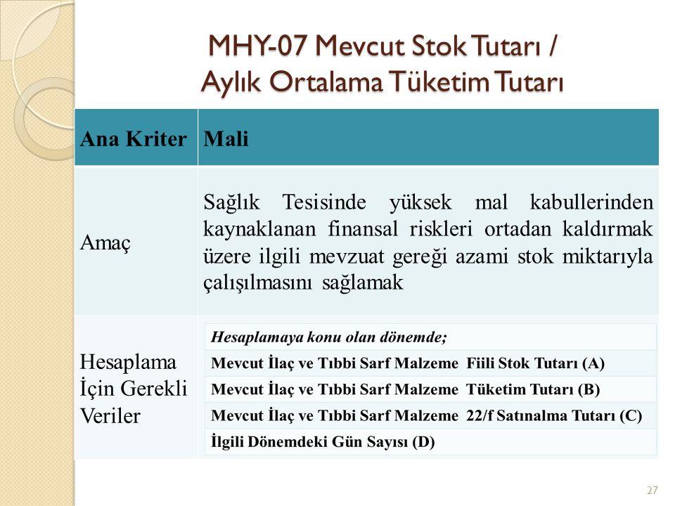 MHY-07 Mevcut Stok Tutarı / Aylık Ortalama Tüketim Tutarı 27 Ana KriterMali Amaç Sağlık Tesisinde yüksek mal kabullerinden kaynaklanan finansal riskle