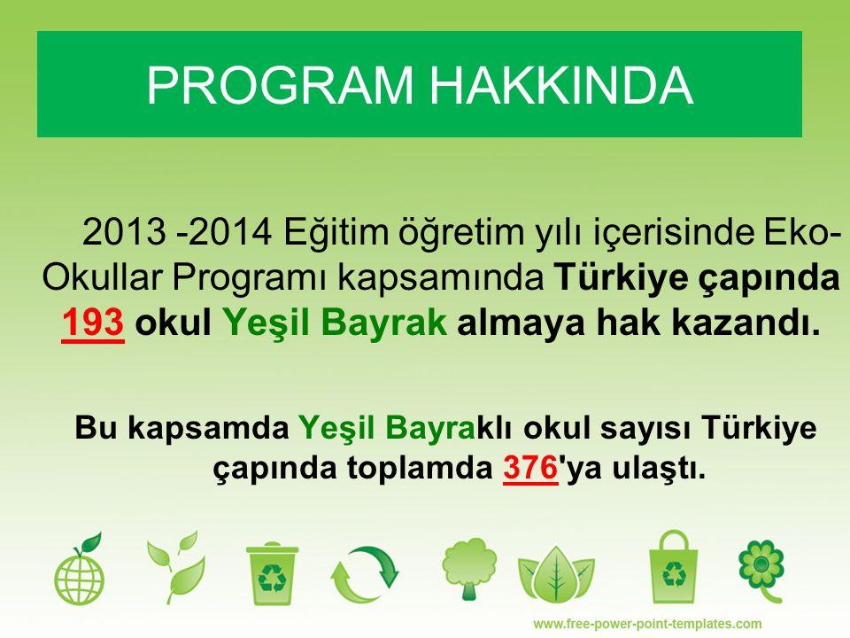 2013 -2014 Eğitim öğretim yılı içerisinde Eko- Okullar Programı kapsamında Türkiye çapında 193 okul Yeşil Bayrak almaya hak kazandı. Bu kapsamda Yeşil