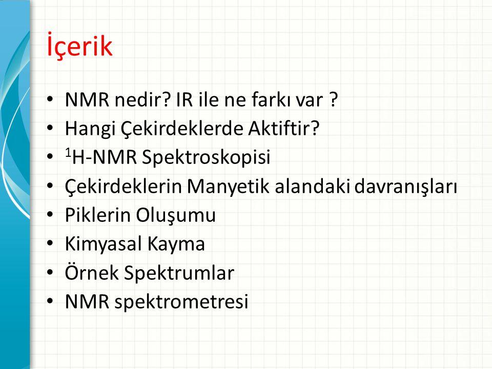 İçerik NMR nedir? IR ile ne farkı var ? Hangi Çekirdeklerde Aktiftir? 1 H-NMR Spektroskopisi Çekirdeklerin Manyetik alandaki davranışları Piklerin Olu