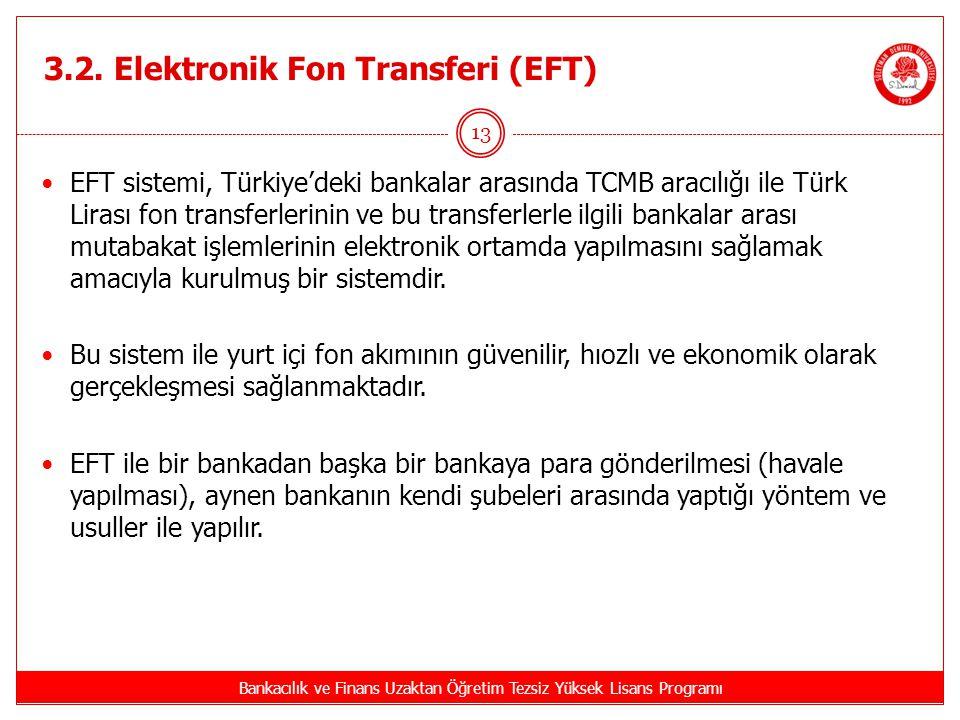 3.2. Elektronik Fon Transferi (EFT) Bankacılık ve Finans Uzaktan Öğretim Tezsiz Yüksek Lisans Programı 13 EFT sistemi, Türkiye'deki bankalar arasında