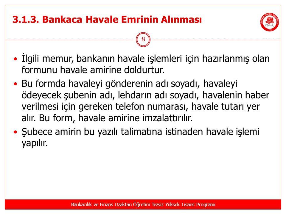 3.1.3. Bankaca Havale Emrinin Alınması Bankacılık ve Finans Uzaktan Öğretim Tezsiz Yüksek Lisans Programı 8 İlgili memur, bankanın havale işlemleri iç
