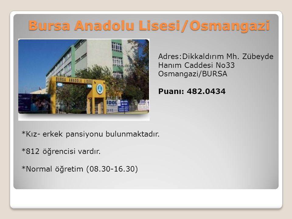 Bursa Anadolu Lisesi/Osmangazi Adres:Dikkaldırım Mh. Zübeyde Hanım Caddesi No33 Osmangazi/BURSA Puanı: 482.0434 *Kız- erkek pansiyonu bulunmaktadır. *