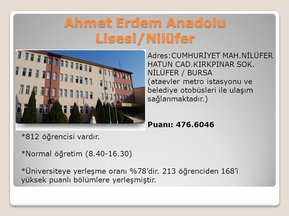 Ahmet Erdem Anadolu Lisesi/Nilüfer Adres:CUMHURİYET MAH.NİLÜFER HATUN CAD.KIRKPINAR SOK. NİLÜFER / BURSA (ataevler metro istasyonu ve belediye otobüsl