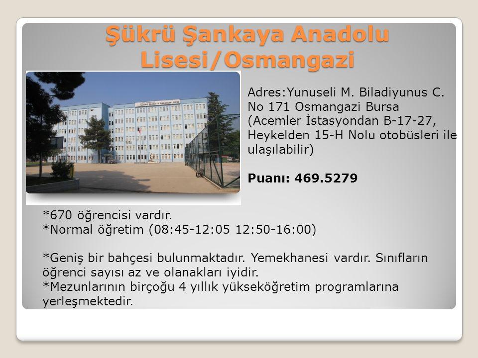 Şükrü Şankaya Anadolu Lisesi/Osmangazi Adres:Yunuseli M. Biladiyunus C. No 171 Osmangazi Bursa (Acemler İstasyondan B-17-27, Heykelden 15-H Nolu otobü