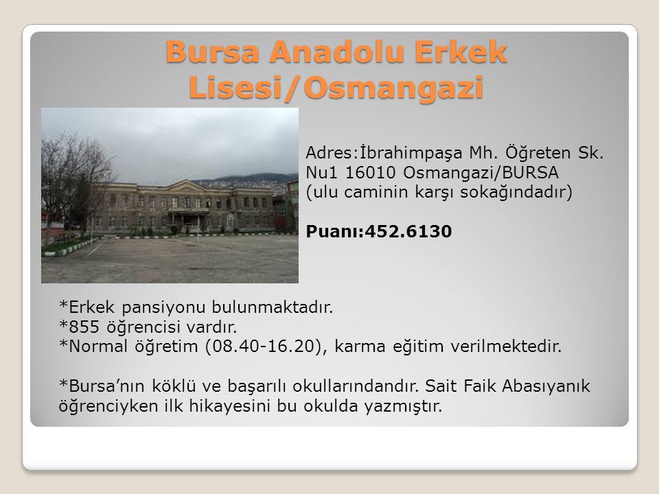 Bursa Anadolu Erkek Lisesi/Osmangazi Adres:İbrahimpaşa Mh. Öğreten Sk. Nu1 16010 Osmangazi/BURSA (ulu caminin karşı sokağındadır) Puanı:452.6130 *Erke