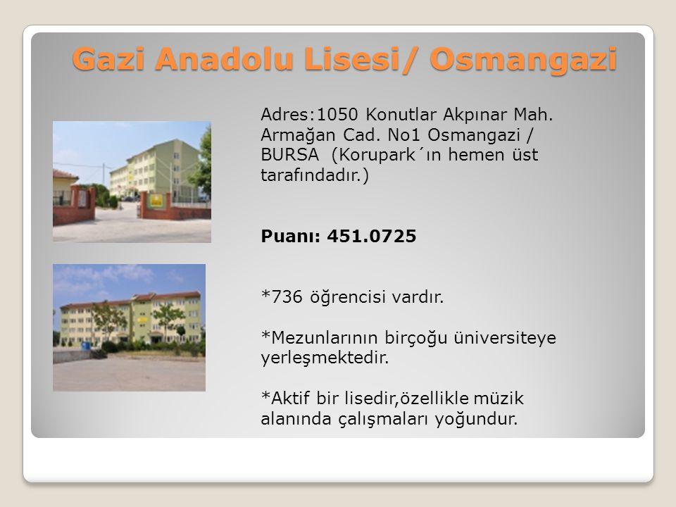 Gazi Anadolu Lisesi/ Osmangazi Adres:1050 Konutlar Akpınar Mah. Armağan Cad. No1 Osmangazi / BURSA (Korupark´ın hemen üst tarafındadır.) Puanı: 451.07