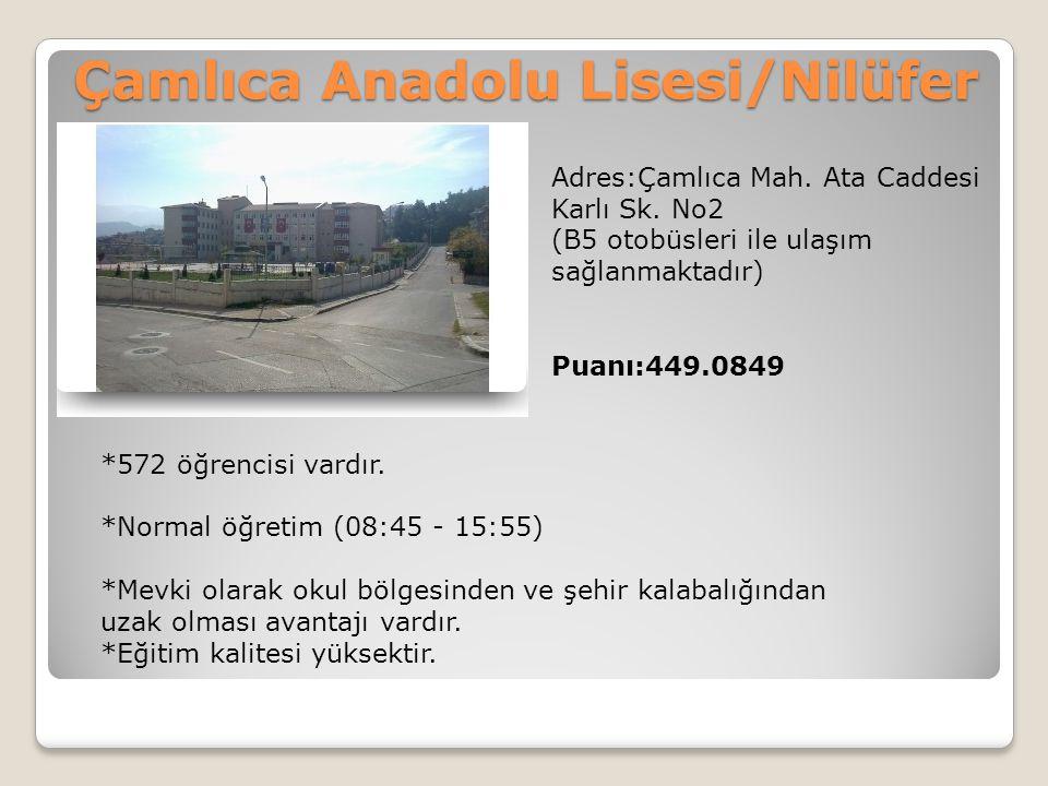 Çamlıca Anadolu Lisesi/Nilüfer Adres:Çamlıca Mah. Ata Caddesi Karlı Sk. No2 (B5 otobüsleri ile ulaşım sağlanmaktadır) Puanı:449.0849 *572 öğrencisi va