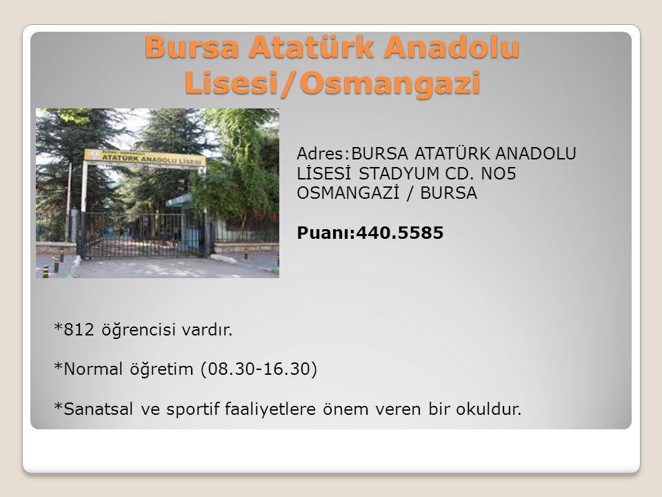 Bursa Atatürk Anadolu Lisesi/Osmangazi Adres:BURSA ATATÜRK ANADOLU LİSESİ STADYUM CD. NO5 OSMANGAZİ / BURSA Puanı:440.5585 *812 öğrencisi vardır. *Nor