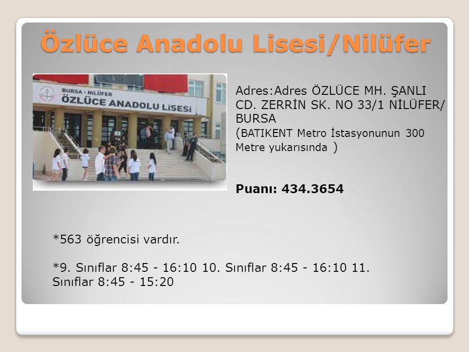 Özlüce Anadolu Lisesi/Nilüfer Adres:Adres ÖZLÜCE MH. ŞANLI CD. ZERRİN SK. NO 33/1 NİLÜFER/ BURSA ( BATIKENT Metro İstasyonunun 300 Metre yukarısında )