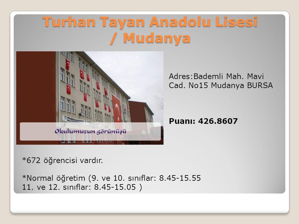 Turhan Tayan Anadolu Lisesi / Mudanya Adres:Bademli Mah. Mavi Cad. No15 Mudanya BURSA Puanı: 426.8607 *672 öğrencisi vardır. *Normal öğretim (9. ve 10