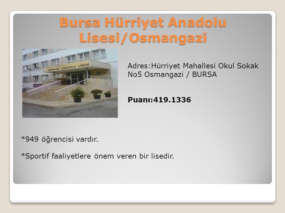 Bursa Hürriyet Anadolu Lisesi/Osmangazi Adres:Hürriyet Mahallesi Okul Sokak No5 Osmangazi / BURSA Puanı:419.1336 *949 öğrencisi vardır. *Sportif faali